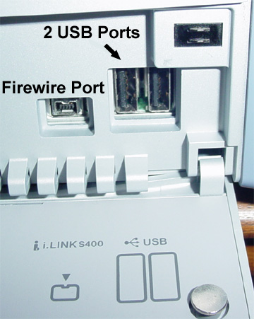USB and Firewire ports